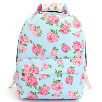 Women Canvas Floral Printed Backapck Satchel Rucksack