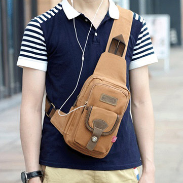 Portable Canvas Chest Bag Multi Pocket Crossbody Bag Casual Shoulder Bag For Men