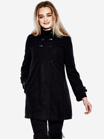 Casual Woollen Hooded Double Breasted Pure Color Wool Overcoat