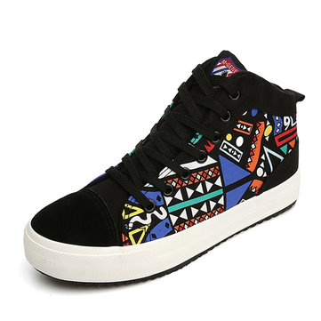M.GENERAL Graffiti Lace Up Low Cut Fashion Canvas Casual Shoes For Women