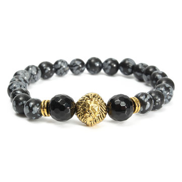 Spot Stone Lion Head Stretch Beaded Bracelet