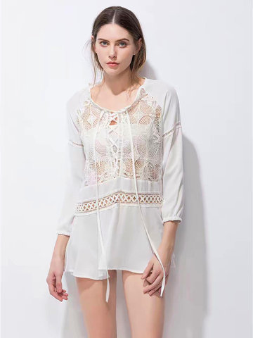 Sexy Lace Patchwork Hollow Lace-up Blouse For Women