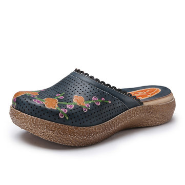Socofy Original Breathable Flower Print Hollow Out Slippers Slip On Retro Sandals