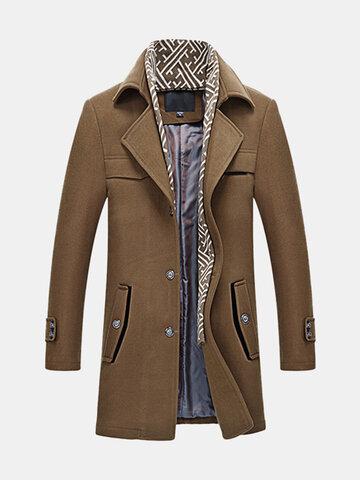 Мужское дело Casual Woolen Coat