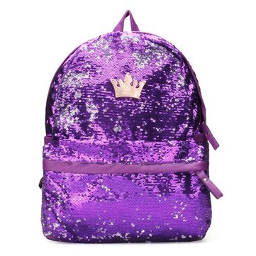 Fashion Crown Sequin Mulher Paillette Backpack