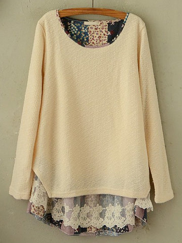 Stitching Round Neck Knit Blouse