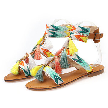 Colorful Tassel Vintage Bohemia Flat Buckle Sandals