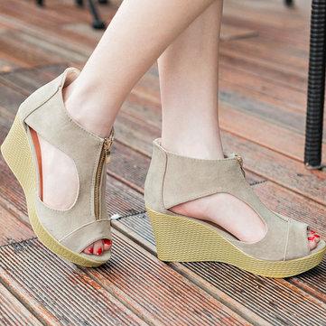 Hollow Out European Style Zipper Peep Toe Platform Wedge Heel Sandals