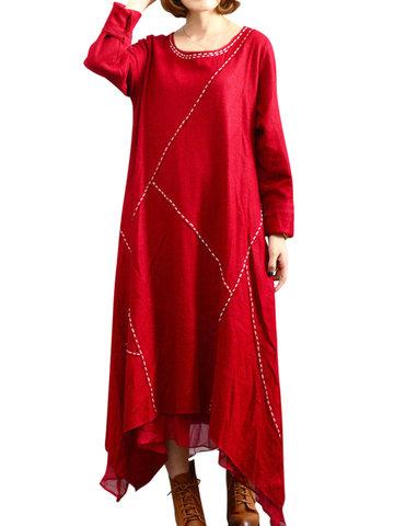 O-Newe Плюс Размер Твердый Лоскутный Длинный рукав Двухслойный Высокое Низкое Платье