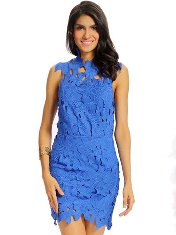 Mujeres Sexy Lace Hollow Bodycon Backless sin mangas Mini vestido