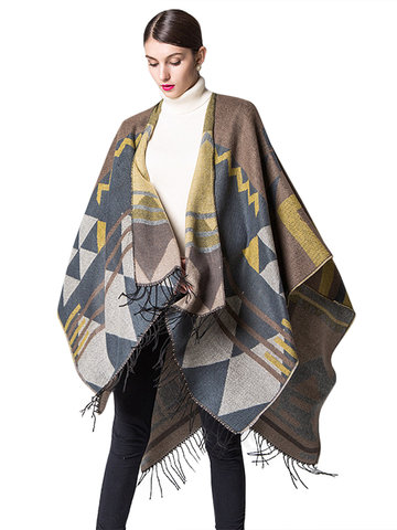 Fashion Geometric Printing Tassels Hem Patchwork Shawl Cloak For Women