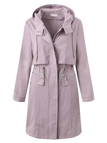 Loose Solid Side Split Two-Layer Drawstring Hooded Jackets