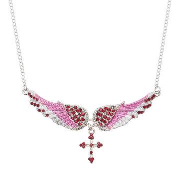 Retro Unisex Necklace Angel Wing Cross Rhinestone Crystal Necklace