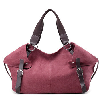 Women Vintage Solid Handbag Tote Bag Canvas Bucket Bag Crossbody Bag