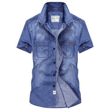 AFSJEEP Summer Short Sleeve Cotton Band Collar Denim Casual Dress Shirts for Men