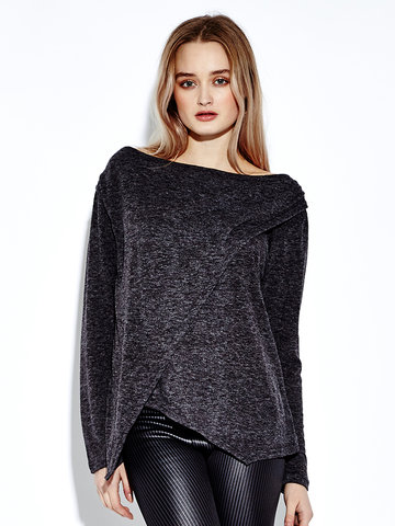 Women Casual Irregular O-neck Long Sleeve T-shirt