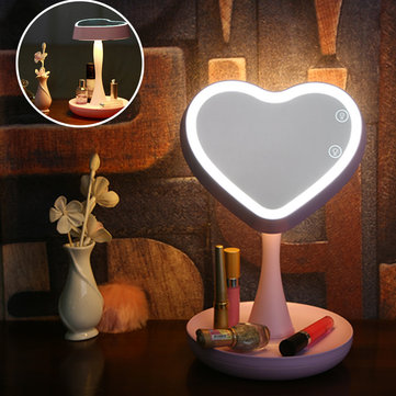 Beginner Makeup Mirror Rechargeable Colorful Heart-shaped Lamp Mirror Light Valentine's Day Gift
