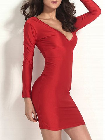 Bodycon Deep V-Neck Long Sleeve Backless Solid Dress