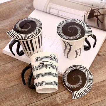 Creative Ceramic Music Cup Note Mark Tazza da Acqua Tazza Coppia con Tazza da Caffè Coperta