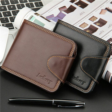 Men Women Business Casual PU Leather Hasp Card Holders Wallet Purses