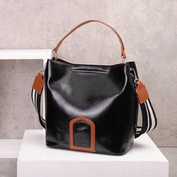 Oil Leather Bucket Bag