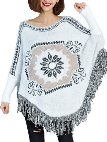 Folk Ethnic Tassel Batwing Long Sleeve Knit Cloak For Women