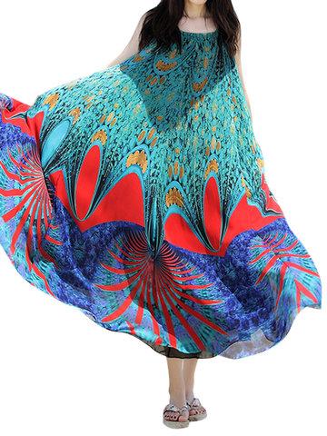 Bohemian Printed Sleeveless Chiffon Long Maxi Dresses