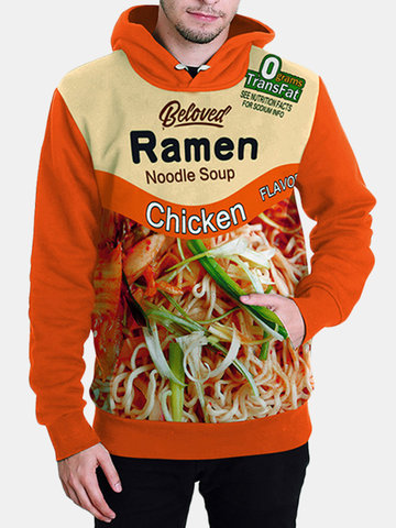 Mens Fashion 3D Food Pattern Printed Hoodies