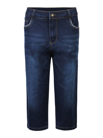 Casual Solid Pocket Skinny Denim Cropped Trousers Jean