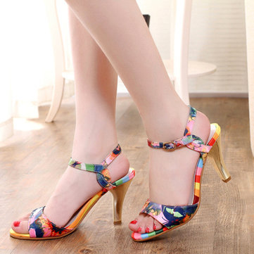 Butterfly Colorful Peep Toe Buckle High Heel Sandals