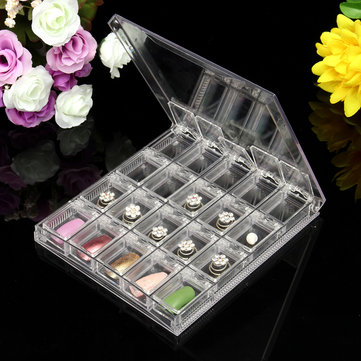 20Pcs/Box Transparent Plastic Acrylic Cosmetic Storage Portable Jewelry Nail Tips Case Pill Box