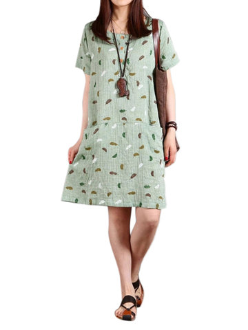 Casual Women Feather Printing Pocket Cotton Linen Dress