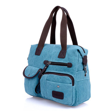 Women Vintage Canvas Casual Multi-pocket Shoulder Bag Handbags