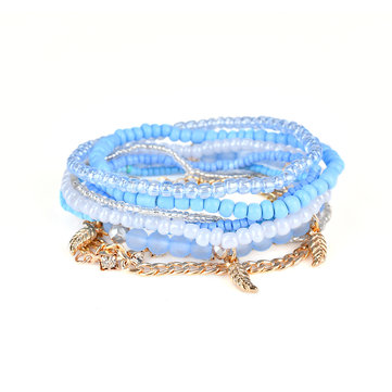 Women's Bohemian Bracelet Leaves Chain Multilayer Bracelet