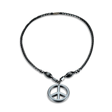 Men's Punk Necklace Plain Magnet Stone Pendant Beads Necklace