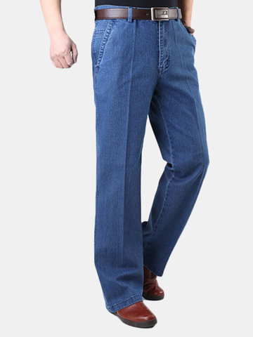 Plus Size Casual Loose Fit Straight Leg Solid Color High-Rise Jean For Men