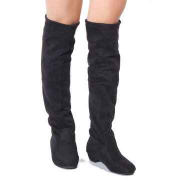 Women Casual Flat Over The Knee Stretchy Boots