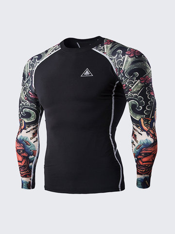 3D Ghost Tattoo Tight Quick-Drying Water-Resistant Bodybuilding Riding Training T-Shirt For Men