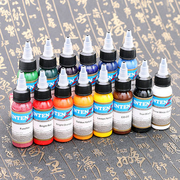 14 Colors Bottled Professional Tattoo Inks Delicate Durable Texture Fast Pigment Kit