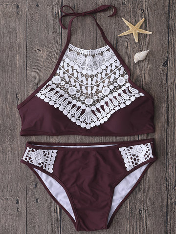 Sexy High Neck Hollow Out Crochet Lace Mesh Set Padded Crop Top Bikinis For Women