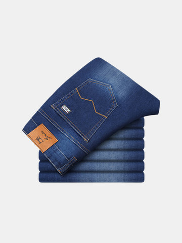 Blue Straight Loose Casual Business Elastic Solid Color Jeans for Men