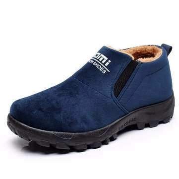 Men Winter Solid Color Cotton Inside Bottom Keep Warm Ankle Boots