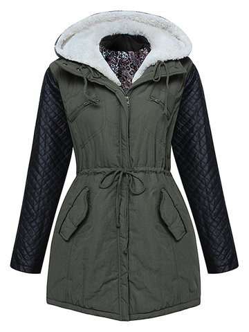 Women Plus Size Thick Drawstring PU Patchwork Hood Coat
