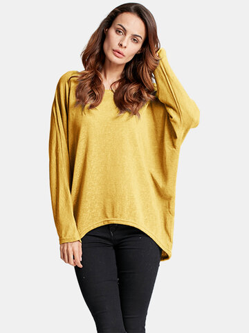 Плюс Размер Loose Batwing Sleeve Soild Women T-shirt