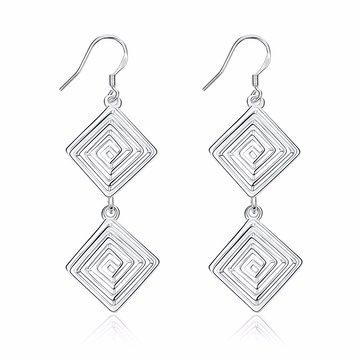 YUEYIN® Hollow Spiral Pattern Simple Tassel Silver Plated Earrings