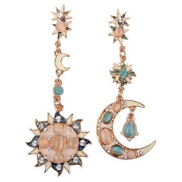 Звёзды Солнце Луна Горный Хрусталь Кристалл Серьги