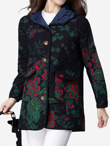 Folk Printed Vintage Women Long Sleeve Thickening Coats