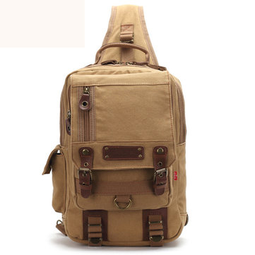 AUGUR Men Canvas Casual Chest Bag Large Capacity Outdoor Travel Crossbody Bags