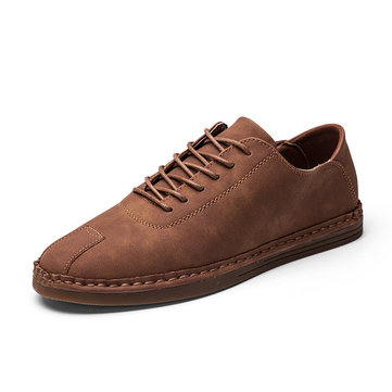 Men Stitching Cap Toe Flat Soft Sole Lace Up Casual Shoes