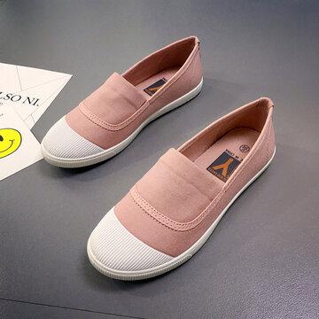 Белый Носок Блокировка Цвета Холст Без Шнуровки Повседневные Плоские Обуви